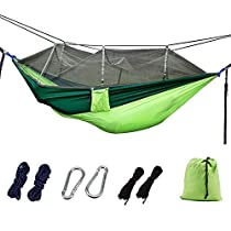 FSDUALWIN Outdoors Camping Hammock with Mosquito Net, Premium Quality Lightweight & Durable 210T Nylon, Perfect for Outdoor Hiking Backpacking Travel (102 * 55inch)
