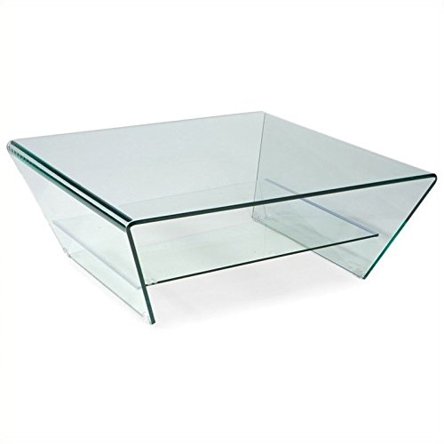 Moe's Home Collection 39-Inch Tocca Square Glass Coffee Table