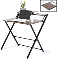 GreenForest Folding Desk for Small Space, 2 Tiers Computer Desk with Shelf Home Office Small Desk with Metal L