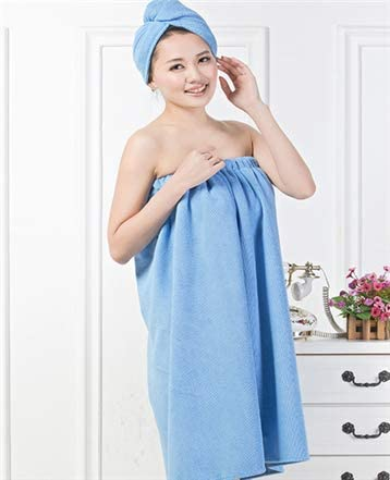 Women Soft Spa Bath Body Wrap Set Towel Bathrobe With Fast Dry Hair Drying Cap.