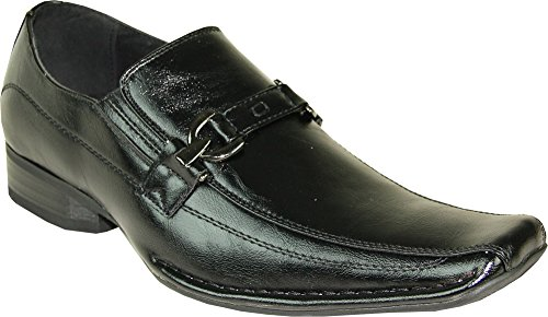 CORONADO New Mens Dress Shoe BERWIN-2 Double Runner Top Strap Loafer with Leather Lining Black 7.5M