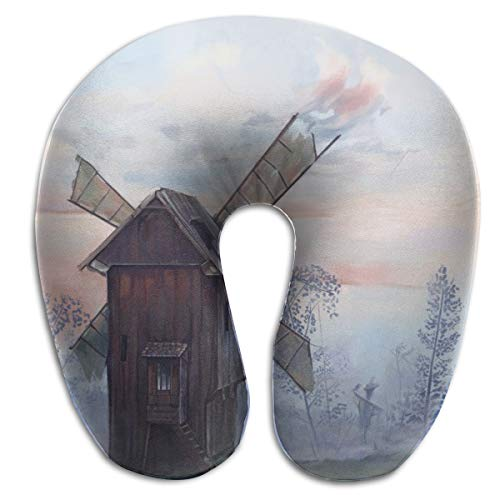 Lesi Yes U-Shape Neck Pillow Memory Foam Comfortable Watercolor Windmill Print Indoor Outdoor Travel Airplane Car Office School