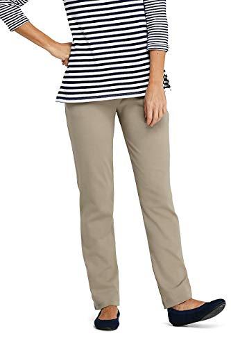 Lands' End Women's Petite Sport Knit High Rise Elastic Waist Pull On Pants Khaki (Petite Elastic Waist Pant)