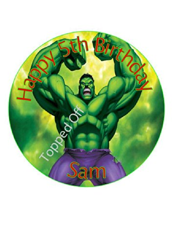 Hulk 75 round fondant icing edible cake topper and printed with