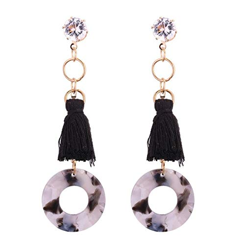 Drop & Dangle - 1 Pair Earrings For Women Fashion Special Charm Tassel Long Earrings for Lady Crystal Circle Dangle Earrings Friends Gift - Style 2