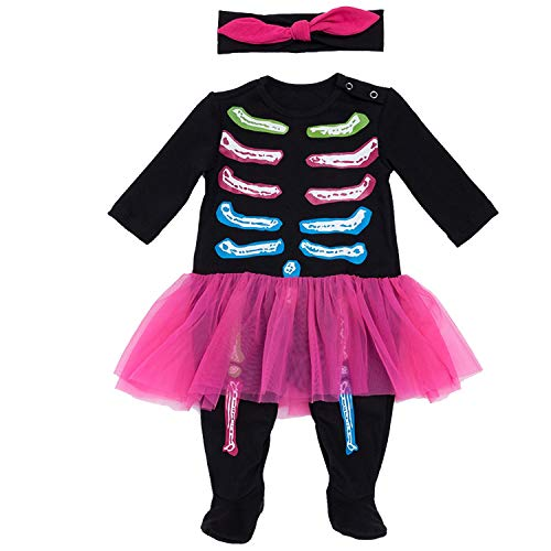Baby Girls Halloween Skeleton Tutu Romper Dress Costume