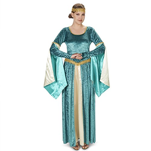 [Renaissance Teal Velvet Dress Adult Costume L] (Renaissance Queen Adult Costumes)