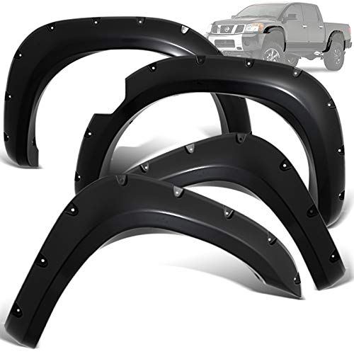 Modifystreet Rivet Pocket Style Fender Flares for 04-14 Nissan Titan Styleside with Lockbox 67.1/78.9/84/96