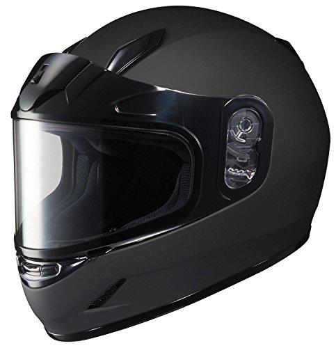 - HJC CL-YSN Full Face Youth Snow Helmet Framed Dual Lens Shield (Matte Black, Medium)