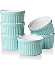 ONTUBE Ramekins - Porcelain Ramekins for Creme Brulee Dishes,Dipping Sauces,Baking Pudding Cups, Souffle Bowl,Oven Safe, Set of 6 (4OZ, Turquoise Blue)