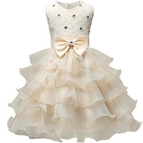 NNJXD Girl Dress Kids Ruffles Lace Party Wedding Dresses Size (140) 6-7 Years Yellow -