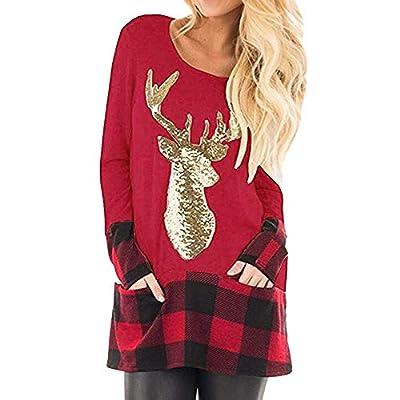 Womens Casual Plaid Long Sleeve Christmas Xmas Reindeer Sequin T Shirt Blouse Tops S-XXXXXL