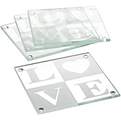 LOVE Glass Coaster Gift Set with Ribbon and Thank You Tag