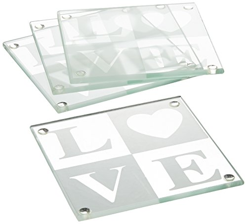 LOVE Glass Coaster Gift Set with Ribbon and Thank You Tag (Wedding Love Coasters Glass)