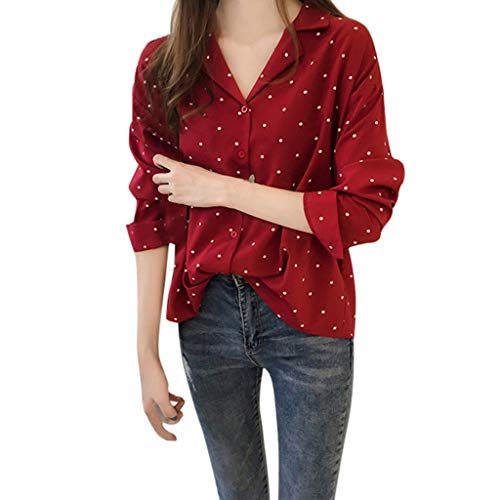 Womens Long Sleeve Tops,Cinsanong Sale ! Dots Printed Fit Slim Tops Fashion Plus Size Spring Autumn Blouse