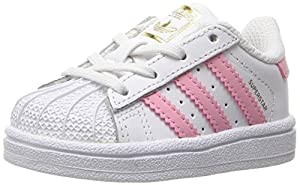 adidas Originals Girls' Superstar I Sneaker, White/Clear Light Pink Metallic/Gold, 9.5 M US Toddler
