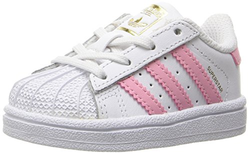 adidas Originals Kids' Superstar, White/Clear Light Pink/Metallic Gold, 5.5K M US Toddler]()
