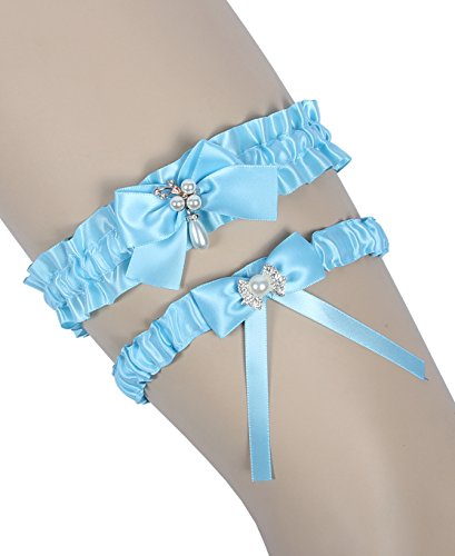 MerryJuly Throw Away and Keep One Satin Wedding Bridal Garter Belt Set with Pearls (Light Blue)