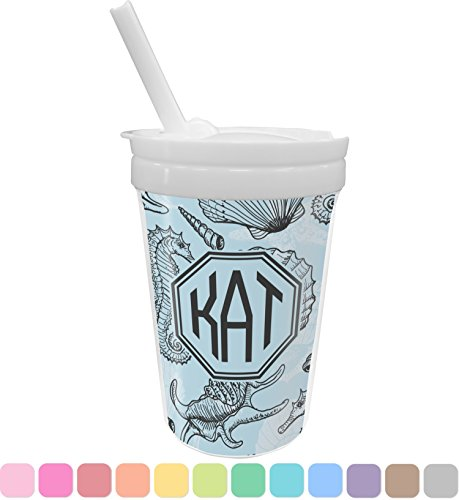 Sea-blue Seashells Sippy Cup with Straw (Personalized) (Straw Seashell)