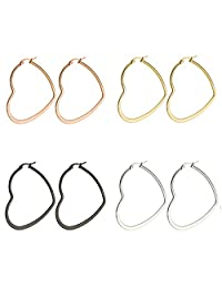 AMDXD Jewelry 4 Pairs Earrings,Women Stainless Steel Earrings Set Ball Circle 20-60MM