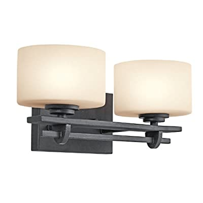Kichler  45258DBK 2 Light Natallia Bathroom Light, Distressed Black - Width: 14-Inch - Projection: 7-Inch - Height from Center of Wall Opening: 4-Inch - Height: 6-Inch - bathroom-lights, bathroom-fixtures-hardware, bathroom - 41ScF%2Bl6cVL. SS400  -