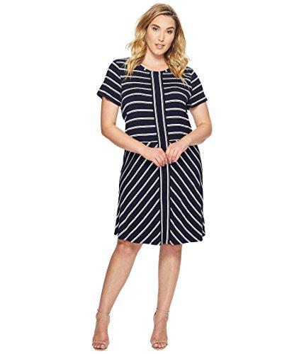 プレミアドール介入する[カルバンクライン] Calvin Klein Plus レディース Plus Size Short Sleeve Striped T-Shirt Dress ドレス [並行輸入品]