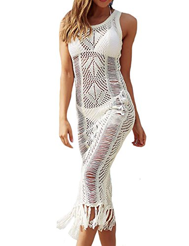 Bestyou Womens Side Split Maxi Dress Crochet Swimwear Cover Ups Swimwear (Off White B)