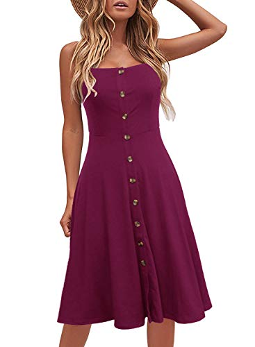 sual Beach Summer Dresses Solid Cotton Flattering A-Line Spaghetti Strap Button Down Midi Sundress (XL, 6046-Purple) ()