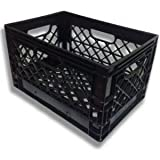 Authentic 19x13x11 6 Gallon 24 Quart Rectangular Dairy Milk Crate (BLACK)