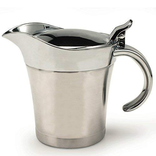 GOURMEX Stainless Steel Double Walled Gravy Boat and Thermal Saucier with Easy Grip Handle and Hinged Lid, Perfect for Hot and Cold Gravy, Cream and Liquids (16oz/500ml) ()