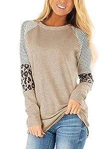 sullcom Women Casual T Shirts Leopard Print Patchwork Tops Loose Crewneck Long Sleeve Raglan Pullovers Shirts Tops