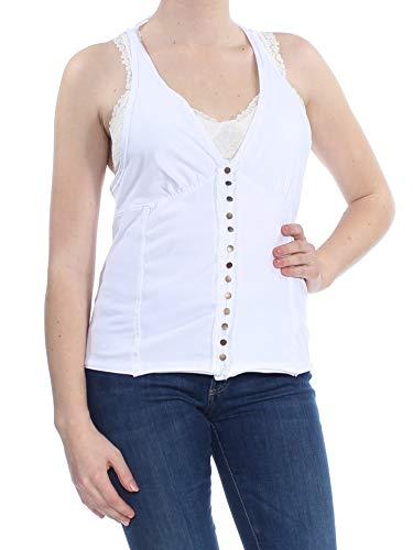 FREE PEOPLE $96 Womens New 1148 White Embellished Tank Top M B+B
