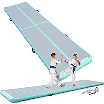 Image of Exercise Mats Cotogo Air Track Tumbling Mat 6.56ft/9.84ft/13.1ft/16.4ft/19.7ft/23ft/26.2ft/29.5ft/32.8ft/36ft/39.4ft Gymnastics Inflatable Airtrack Gym Mats with Electric Air Pump Home Indoor Workout Training