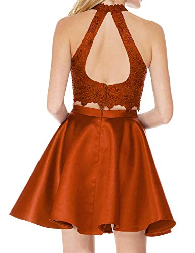Halter Dresses Homecoming with A Dress Line Lace Two Open Short Party Rust Piece Cocktail Back Dress wq8qXAU
