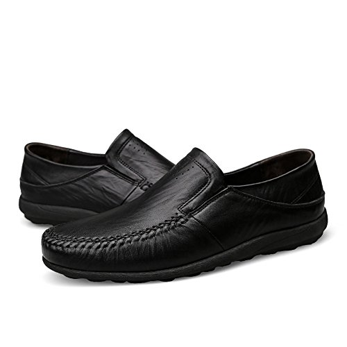 Caminan Hombres tamaño Ligeros Negocio de EU Barco del Las Zapatos con Suelas Suaves de de Genuino 43 del los Mocasines los del Hombres Negro mocasín shoes Meimei Cuero Que Color qapBSxWnOw