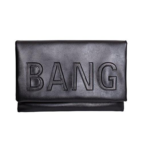 Zarapack de gran tamaño para mujer con tapas de piel sintética funda de piel con de letra bolso de mano piñón libre de más plegable - negro