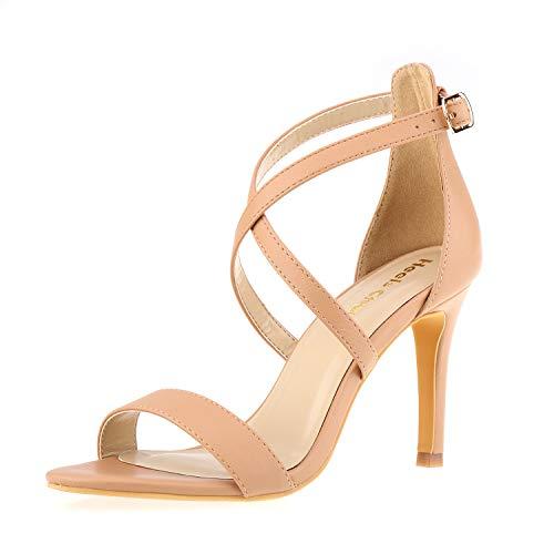 Women Stiletto Open Toe Cross Strappy Heeled Sandals 8.5CM Ankle Strap High Heels Dress Sandals Nude Size 6