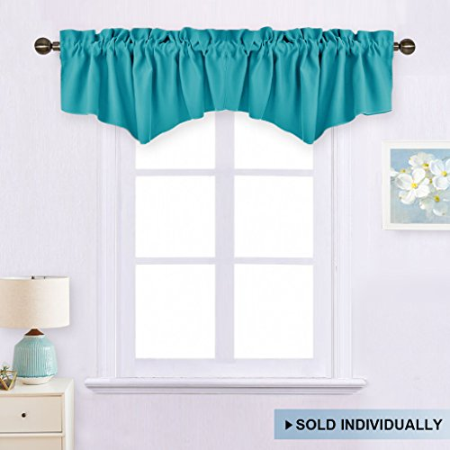 Living Room Short Curtain Valance - 52-inch by 18-inch Ascot Rod Pocket Valance Window Curtain by NICETOWN (Turquoise, Single Panel) (Polyester Valance Tiers)