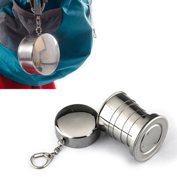Cup Metal Gold Loving - Drinkware & Tea Sets - Hn-Poc25 Stainless Steel Portable Outdoor Travel Camping Folding Collapsible Metal Water Cup - Metallic Irrigate Cupful Collapsable Gold Urine Loving Bimetal Pee - 1PCs