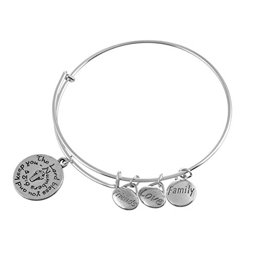 Encounter White Gold Cross Family LOVE Friends Adjustable Wire Bangle Charms Bracelet