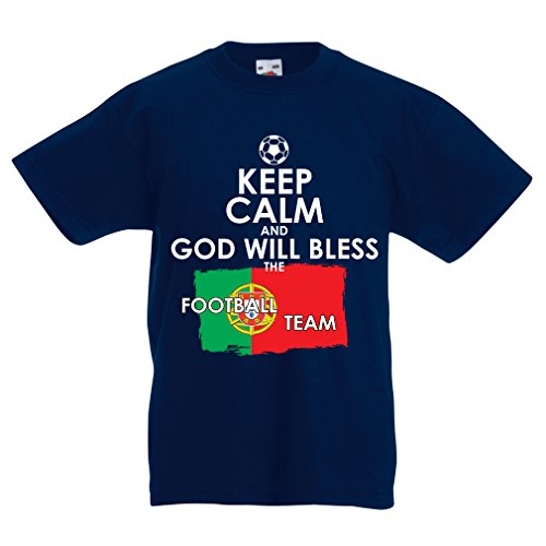 Kids Boys/Girls T-Shirt 2018 World Cup Russia Soccer Championship, Portuguese National Football Team (7-8 Years Dark Blue Multi Color)
