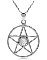 Silvershake Natural Moonstone 925 Sterling Silver Pentagram Star Pendant with 18 Inch Chain Necklace