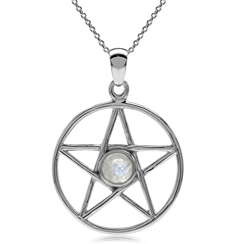 Rainbow Moonstone 925 Sterling Silver Pentagram Star Pendant w/18 Inch Chain Necklace