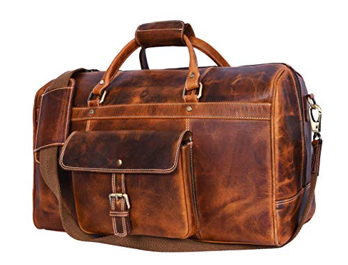20 Inch Weekender - Aaron Leather 20 inch Full Grain Leather Weekender Duffle Bag (Brown)