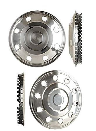 4 tapacubos de acero inoxidable de 15 pulgadas (2 rectos, 2 curvados), para furgonetas y remolques: Amazon.es: Coche y moto