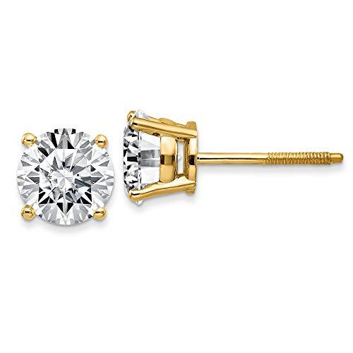 14K Yellow Goldy 1.00ct. 5.0mm Round Moissanite 4-Prong Basket Screw Back Earring -