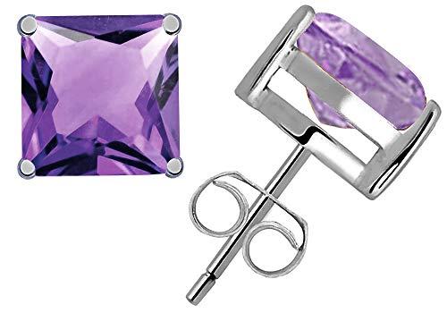 2.2 Ctw Amethyst Stud Earrings For Women By Orchid Jewelry : Hypoallergenic Sterling Silver Earrings For Sensitive Ears, Nickel Free Dangling Earrings, Studded Competition Jewelry