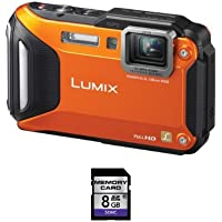 Panasonic Lumix DMC-TS5 16.1 MP Digital Camera + 8GB SDHC Card (Orange)