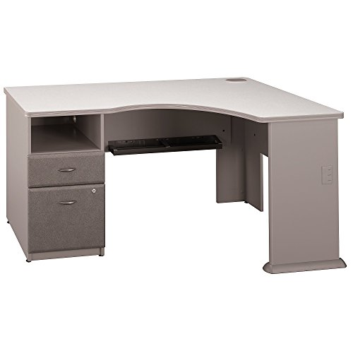 (Bush Business Furniture Series A Single 2 Drawer Pedestal Corner Desk, Pewter)