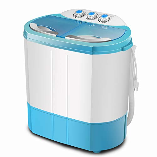 4-EVER Portable Mini Compact Washing Machine Twin Tub Washer and Spinner Dryer Combo,Ideal For Dorms Apartments RV's College Rooms Camping 9.9LBS(Blue)